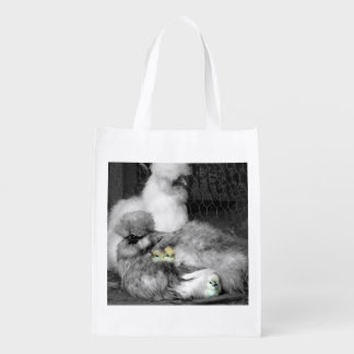 Black and White Silkie Chickens with yellow Chicks Market Totes