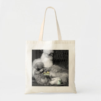 Black and White Silkie Chickens with yellow Chicks Tote Bag