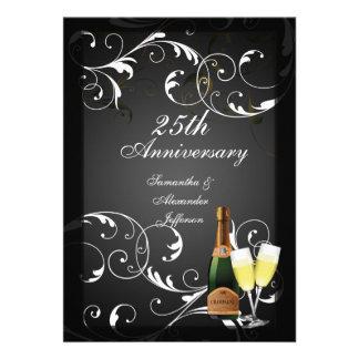 Black and White Silver Champagne Anniversary Invitation
