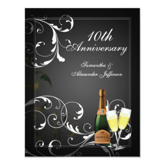 Black and White Silver Champagne Anniversary Party Personalized Invitations