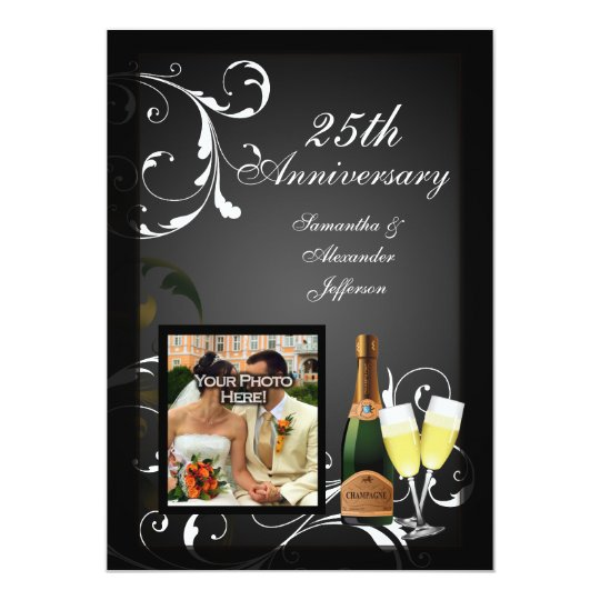 Black and White Silver Champagne Photo Anniversary Card