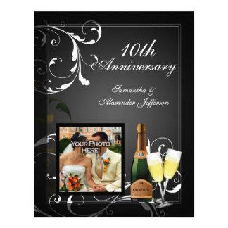 Black and White Silver Champagne Photo Anniversary Announcement