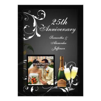 Black and White Silver Champagne Photo Anniversary Personalized Invitation