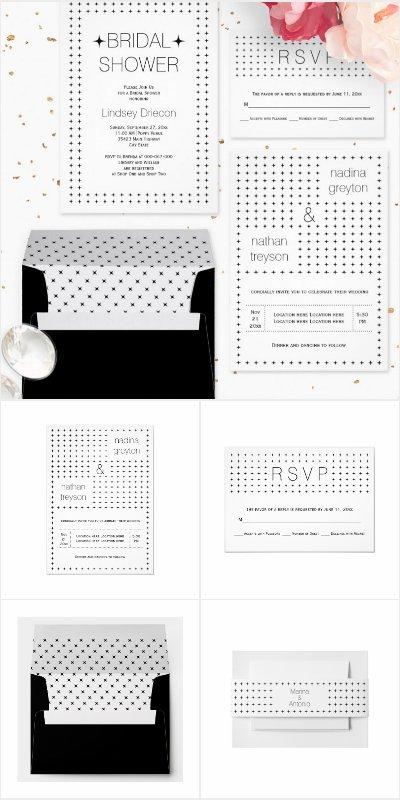 Black and white simple geometric pattern wedding