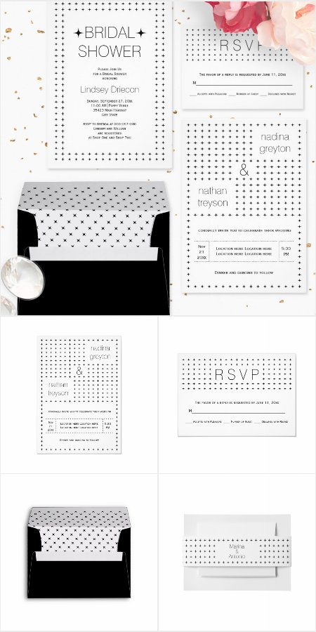 Black and white simple geometric pattern wedding