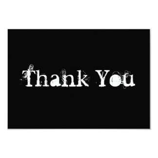 """Black and White Simple Grungy Thank You 3.5"""" X 5"""" Invitation Card"""