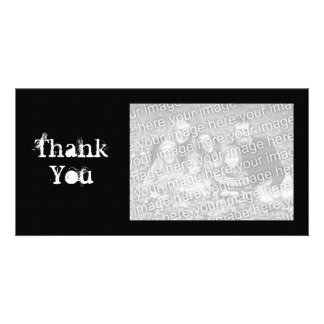 Black and White Simple Grungy Thank You Photo Card