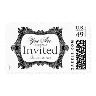 Black and white simple invitation Wedding Postage