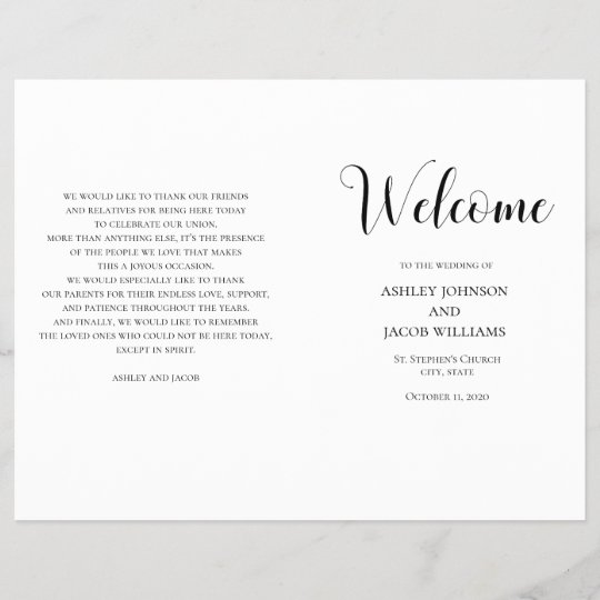 black and white simple wedding program folded zazzle com
