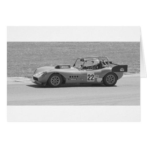 Black and white single seater race car card