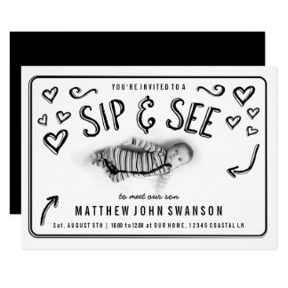 Black and White Sip and See Photo Card