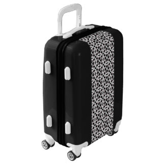 Black and white sitting woman pattern luggage