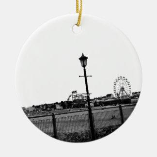 Black and white Skegness pier Ceramic Ornament