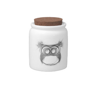 Black and White Sketch of Owl Candy Jar