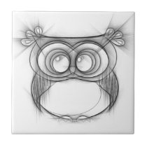 Black and White Sketch of Owl Ceramic Tile