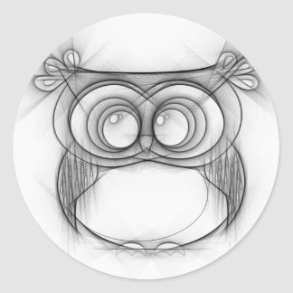 Black and White Sketch of Owl Classic Round Sticker