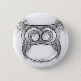Black and White Sketch of Owl Pinback Button