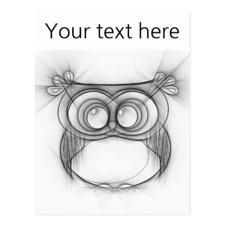 Black and White Sketch of Owl Postcard