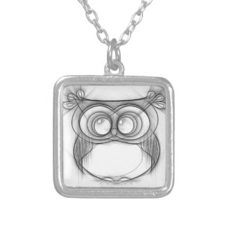 Black and White Sketch of Owl Silver Plated Necklace