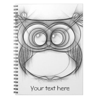 Black and White Sketch of Owl Spiral Notebook