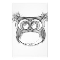 Black and White Sketch of Owl Stationery
