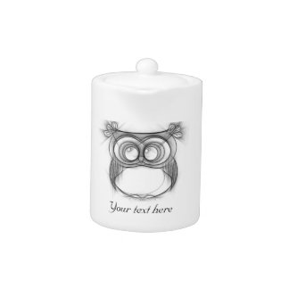 Black and White Sketch of Owl Teapot