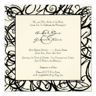 Black and White Sketchy Frame Wedding Invitation