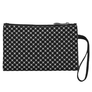 Black and White Skull & Crossbones Polka Dots Wristlet Wallet