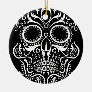 Black and White Skull /  Day of the Dead Ceramic Ornament