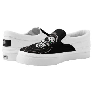 Black and white skull dead grim reaper printed shoes