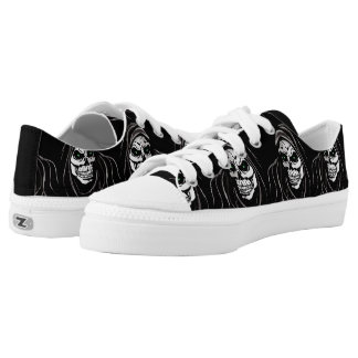 Black and white skull grim reaper printed shoes