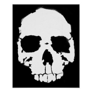 Black and White Skull / Head (1) Poster