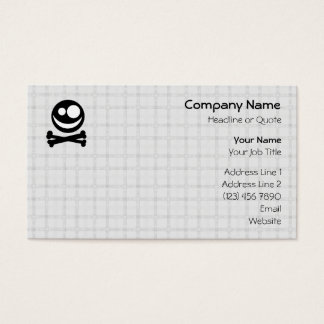 Black and White Skull. On Gray Check. Business Card