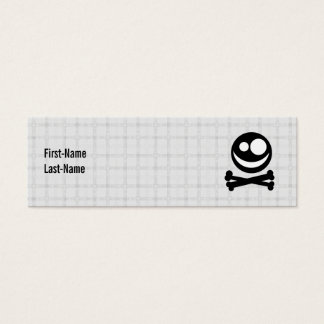 Black and White Skull. On Gray Check. Mini Business Card