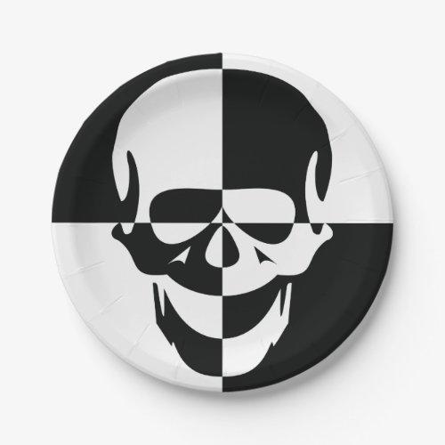 Black And White Skull Paper Plates