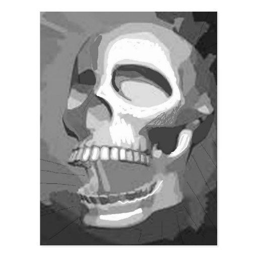 Black and white skull postcard
