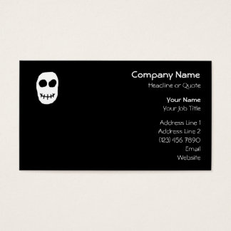 Black and White Skull. Primitive Style. Business Card