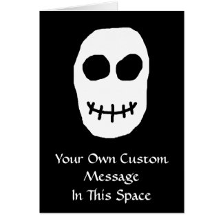 Black and White Skull. Primitive Style. Card