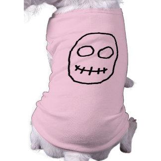 Black and White Skull. Primitive Style. Doggie T Shirt