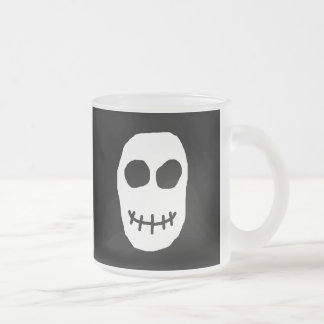 Black and White Skull. Primitive Style. Frosted Glass Coffee Mug