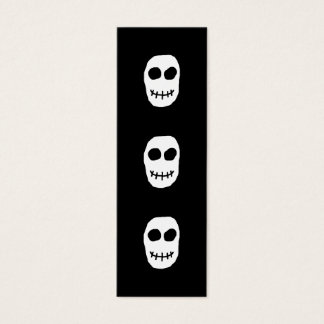 Black and White Skull. Primitive Style. Mini Business Card