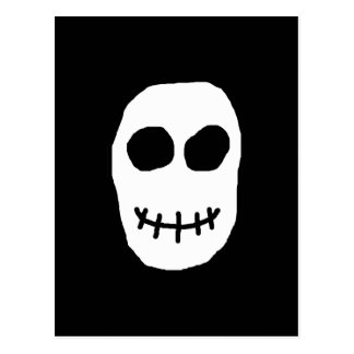 Black and White Skull. Primitive Style. Postcard