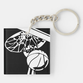 Black and White Slam Dunk Gripping Rim Key Chain