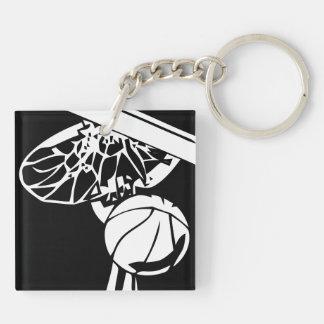 Black and White Slam Dunk Gripping Rim Key Chain