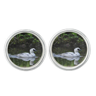 Black and White Smew or Sea Diving Duck Waterfowl Cufflinks