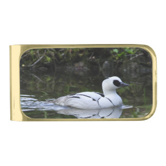 Black and White Smew or Sea Diving Duck Waterfowl Gold Finish Money Clip