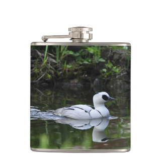 Black and White Smew or Sea Diving Duck Waterfowl Hip Flask