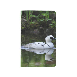 Black and White Smew or Sea Diving Duck Waterfowl Journal