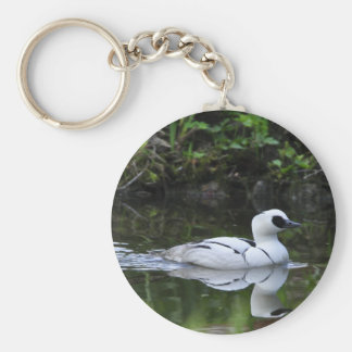 Black and White Smew or Sea Diving Duck Waterfowl Keychain