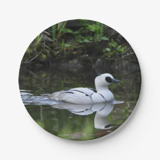 Black and White Smew or Sea Diving Duck Waterfowl Paper Plate